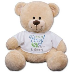 It's a Boy Personalized Name and Date T-Shirt Teddy Bear