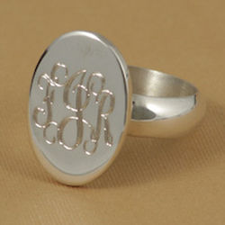 Monogrammed Oval Silver Ring