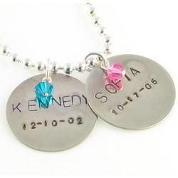 Hand Stamped Custom Mother's Personalized Necklace