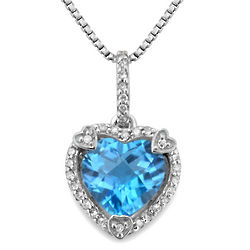 Blue Topaz Birthstone Heart Pendant with Diamond Accents