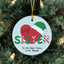 Personalized Ceramic Heart My Sister Ornament