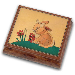 Adorable Bunny Girl Hand Inlaid Music Jewelry Box