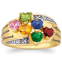 Gold Over Sterling Birthstone Heart and Name Family Ring