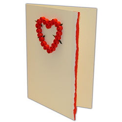 Red Heart with Roses Greeting Card