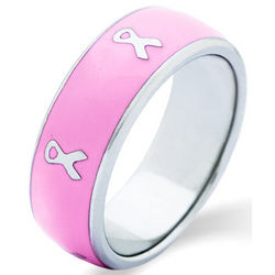 Pink Enamel Cancer Ribbon Band