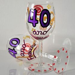 Personalized 40 and Fabulous Wine Glasses