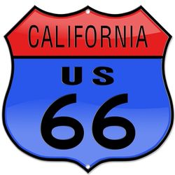 Laser Cut Colored Route 66 California Sign