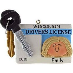 Blonde Girl New Driver's License and Key Ornament