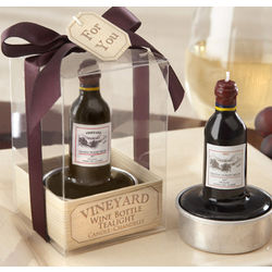 Vineyard Wine Bottle Tea Light Favors