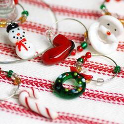 Mini Christmas Wine Charms