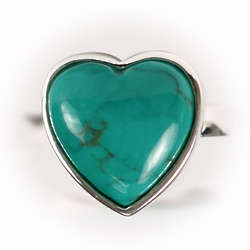 Turquoise Heart Ring in Sterling Silver