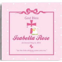 Personalized God Bless Christening/Baptism Wall Canvas