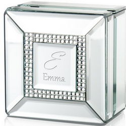 Personalized Mirrored Jewelry Box with Rhinestones