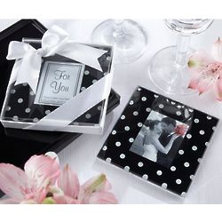 Black and White Polka Dot Photo Coaster Favor