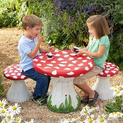 Handpainted Kids Mushroom Stools