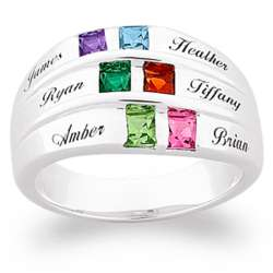 Sterling Silver Square Birthstone and Name Family Ring