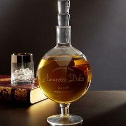 Amaretto Dolce Etched Whiskey Decanter