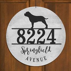 "Personalized Dog Breed 13"" Round Address Sign"