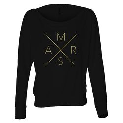 Women's Mars Long Sleeve Scoop Neck Shirt in Black