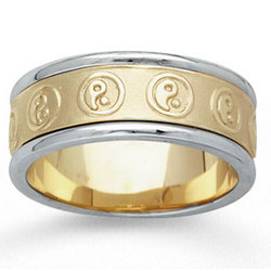 14k Two Tone Gold Yin Yang Hand Carved Wedding Band