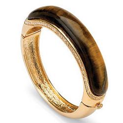 14k Gold-Plated Tiger's-Eye and Crystal Bangle Bracelet