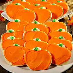 2 Dozen Frosted Pumpkin Shaped Cookies