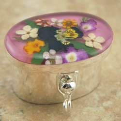 Sterling Silver Oval Pill Box with Real Flowers with Pink Lid