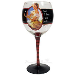 Vintage Vixen Oops! Wine Glass