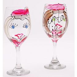 Custom Hand Painted Santa Girl Wine Glass