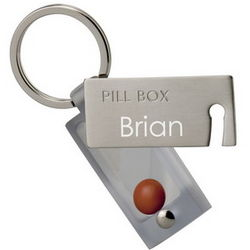 Personalized Push Button Pill Holder Keychain