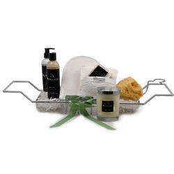 Organic Tub Caddy Bath and Body Essentials Holiday Gift Basket