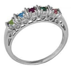Sterling Silver Family Birthstone Bar Ring
