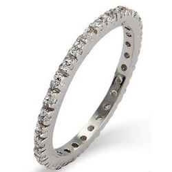 Cubic Zirconia Sterling Silver Stackable Eternity Band