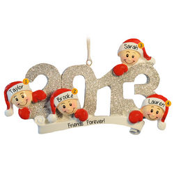 2013 Family of Four Glittered Numbers Ornament