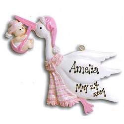 Babies First Christmas Personalized Stork Ornament