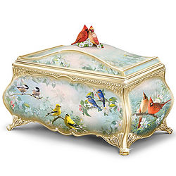 Songbird Artwork Porcelain Music Box with 22K Gold Accents