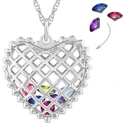Birthstones Inside Sterling Silver Heart Necklace