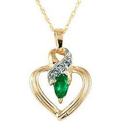 Pear Shaped Emerald and Diamond Ribbon Heart Pendant