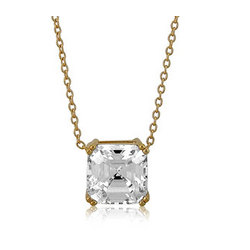 Asscher CZ Gold Over Silver Solitaire Pendant Necklace