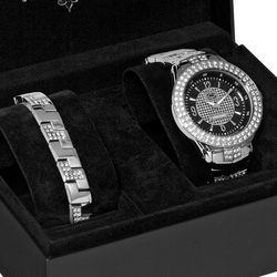 The King Silvertone Boxed Watch and Bracelet Set
