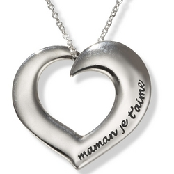 Maman Je Taime Poesy Heart Necklace