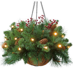 Cordless Hanging LED Greenery Basket