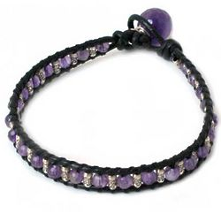 Intrepid Leather and Amethyst Bracelet