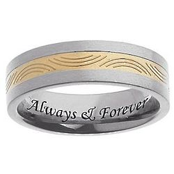 Personalized Men's Titanium Engraved Two Tone Pattern Band