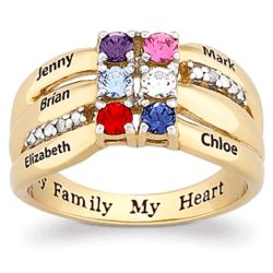 Two-Tone Family Birthstone and Name Ring with Diamond Accents
