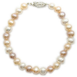 Multi-Color Fresh Water Pearl Bracelet in Silver