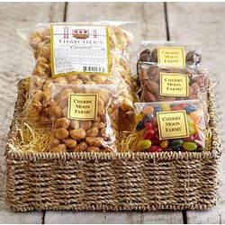 Sweet Meets Salty Gift Basket with Thank You Ribbon