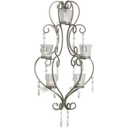 Champagne and Crystal Tealight Chandelier Wall Sconce