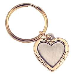 Personalized Gold and Pewter Heart Key Chain