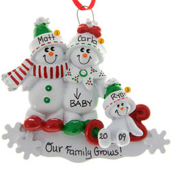Snowfamily On Sled Pregnant Mom + 1 Kid Ornament